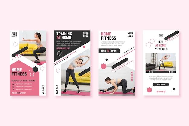 Modello di storie instagram casa fitness Vettore gratuito