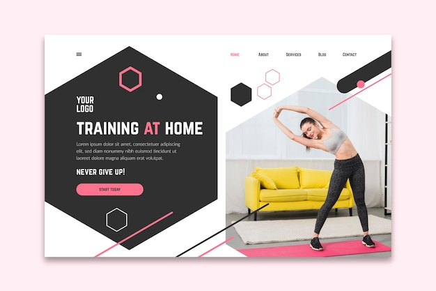Home fitness template banner Free Vector