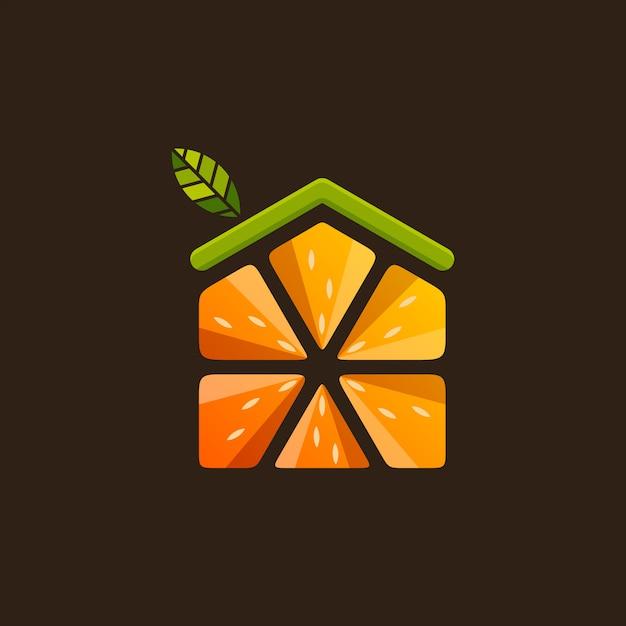 Home fruit logo vector Premium Vector