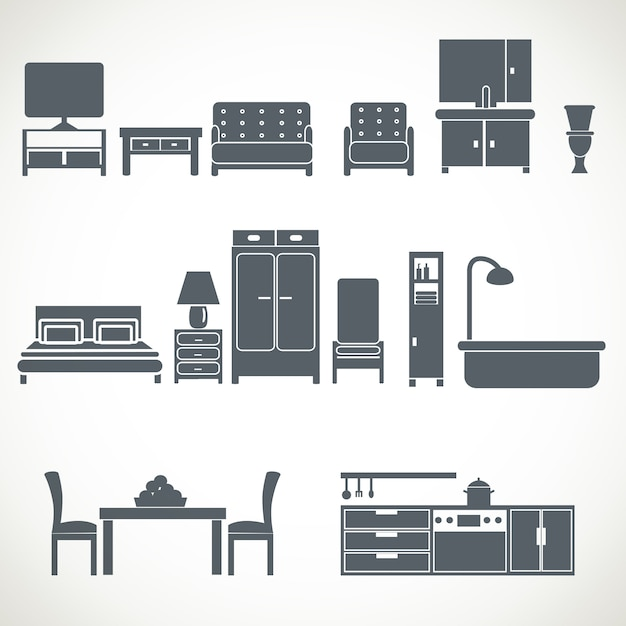 Home furniture design blackicons set Premium Vector