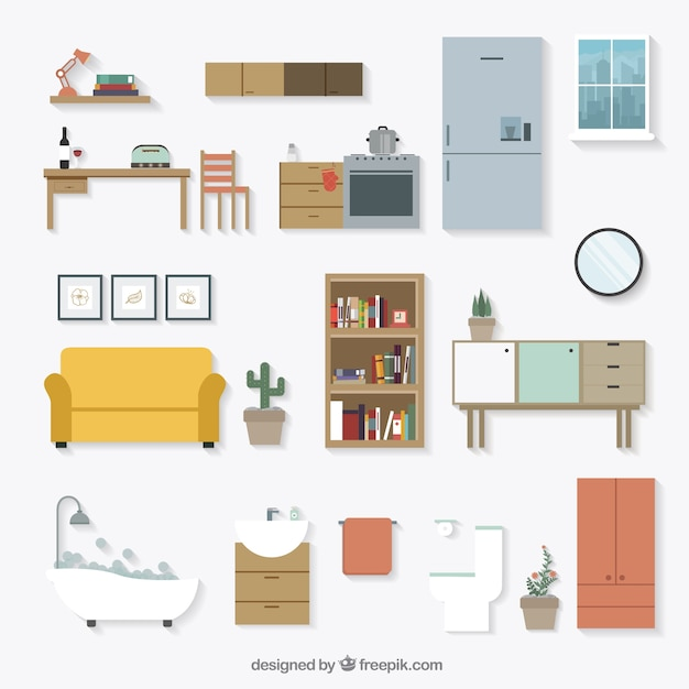 Colorful Rooms With A View: Furniture Vectors, Photos And PSD Files