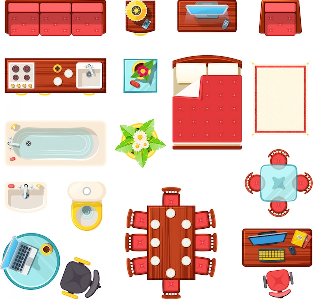 Home furniture top view set Free Vector