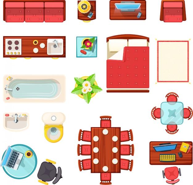 Домашняя мебель вид сверху set Бесплатные векторы