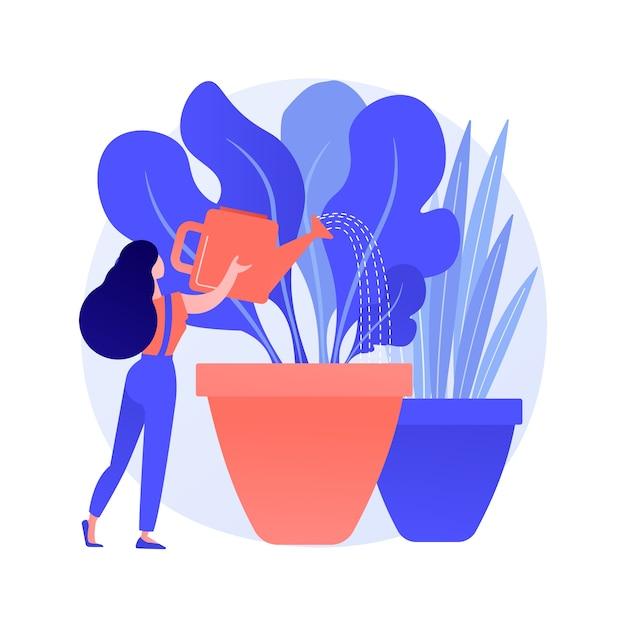 ホームガーデニング抽象的な概念ベクトルイラスト。あなた自身の野菜を屋内で育て、花に水をまき、エコガーデニング、自然との再接続、家にいるアイデア、抽象的な比喩を植える種。 無料ベクター