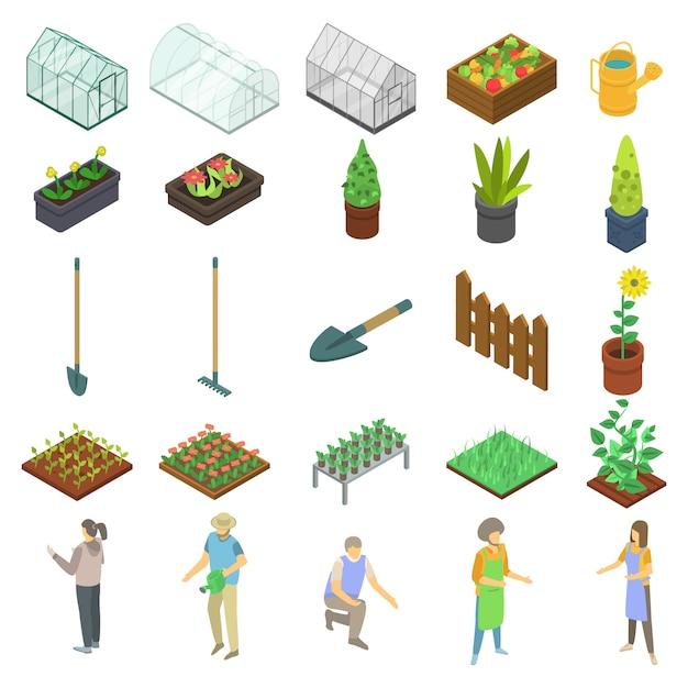 Home greenhouse icons set, isometric style Premium Vector
