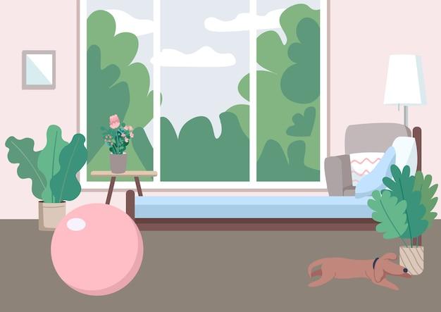 홈 체육관 평면 컬러 일러스트입니다. 적당을위한 팽창 식 공. 에어로빅을위한 집 바닥. 훈련 용 스포츠 장비. 배경에 창 빈 방 2d 만화 인테리어 프리미엄 벡터