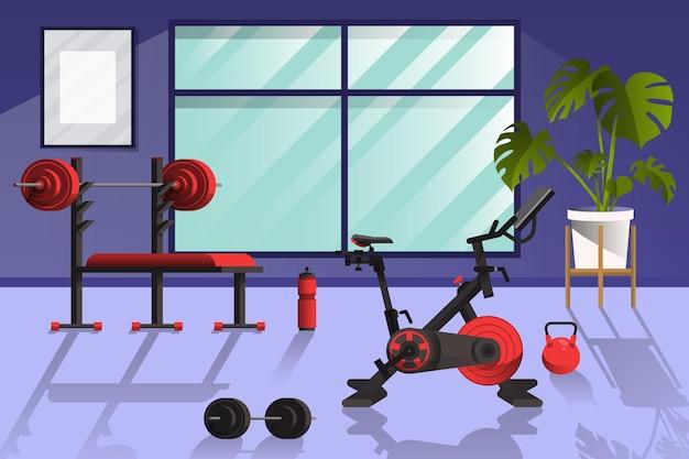 다양한 운동 요소가있는 홈 체육관 무료 벡터