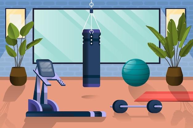 Palestra domestica con diversi elementi di allenamento Vettore gratuito