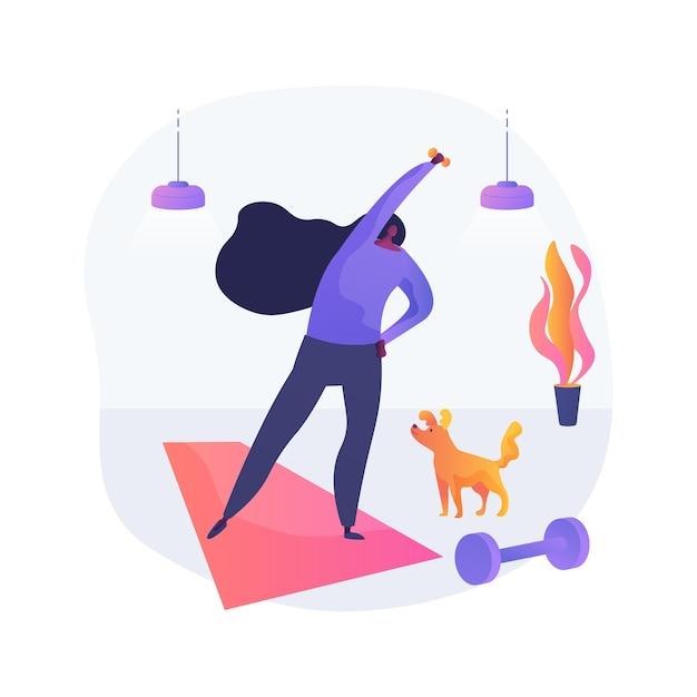 홈 체조 추상 개념 벡터 일러스트 레이 션. 격리, 온라인 파워 트레이닝, 운동 프로그램, 집에서하는 운동, 사회적 거리, 피트니스 라이브 스트림 추상 은유 속에서 활동적인 상태를 유지하세요. 무료 벡터