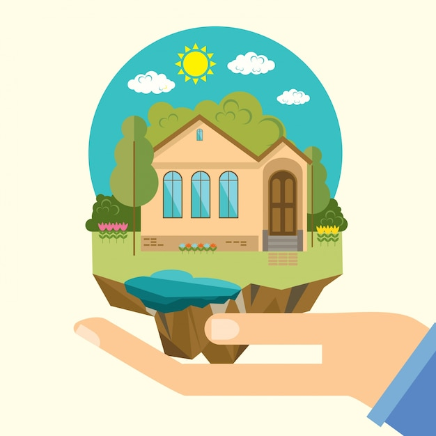 Home  in the hands Free Vector