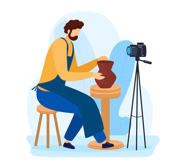 Домашнее хобби, взрослый мужчина в мастерской, вдохновение в то время как изолированный, ручной работы, дизайн иллюстрации шаржа, изолированный на белом. керамика. съемочный процесс изготовления кувшина из глины для фотоаппарата, интересная работа по дому. Premium векторы