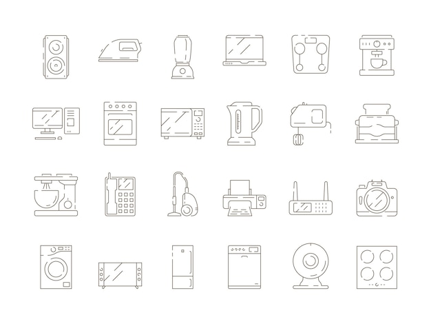 Home households items. kitchen electrical appliances mixer microwave tv computer refrigerator vector thin line icons Premium Vector