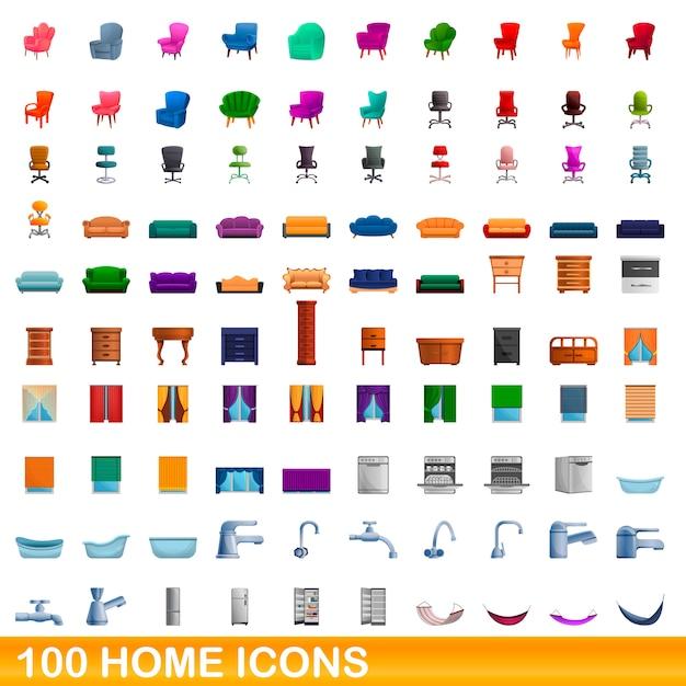Home icons set, cartoon style Premium Vector