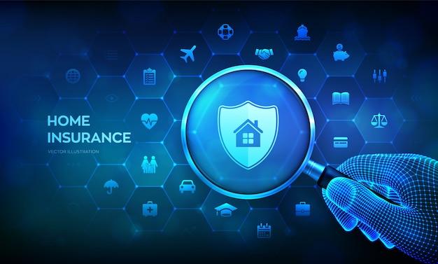 손에 돋보기와 홈 보험 개념입니다. 부동산 보험. 가상 화면에 돋보기. 프리미엄 벡터