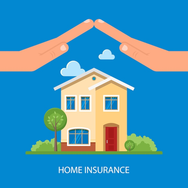 Home insurance illustration in flat style | Premium Vector