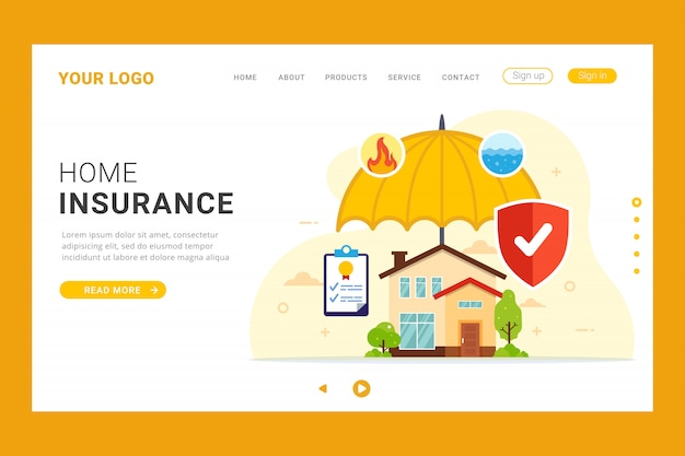 Home insurance landing page template Premium Vector