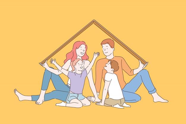 가정 보험 은유, 행복한 어린 시절의 추억 개념 프리미엄 벡터