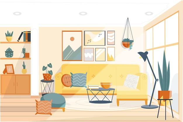 Концепция домашнего интерьера фона Бесплатные векторы