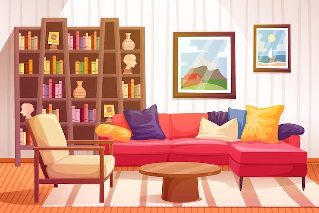 ホームインテリアの背景デザイン 無料ベクター