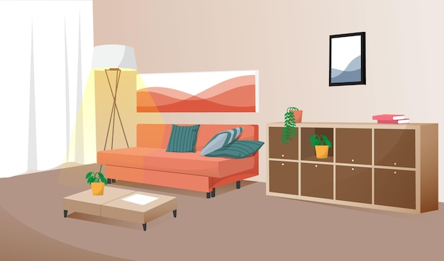 Домашний интерьер - фон для видеоконференций Бесплатные векторы
