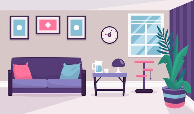 Домашний интерьер - фон для видеоконференцсвязи Premium векторы