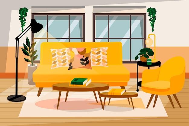 Домашний интерьер - фон для видеоконференцсвязи Бесплатные векторы