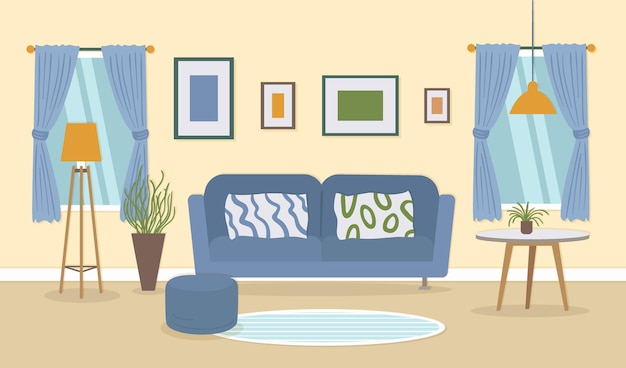 Home interior - background for video conferencing Free Vector