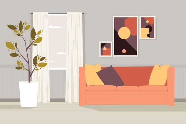 Home interior background for video conferencing Premium Vector