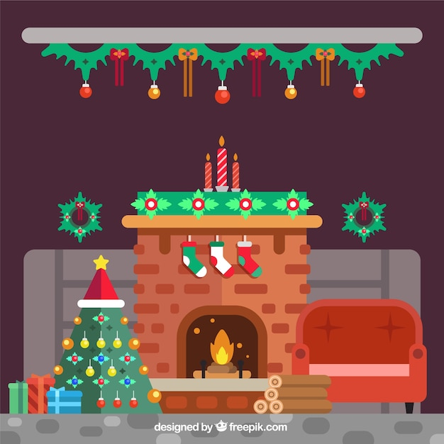 Home Interior Background With Fireplace And Christmas Tree