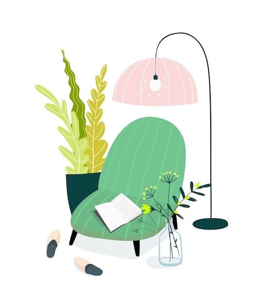ホームインテリアデザインイラスト。居心地の良い家のリビングルーム、アームチェアやソファ、ランプシェード、スリッパ、家の植物で読書や勉強をするためのスペース。 Premiumベクター