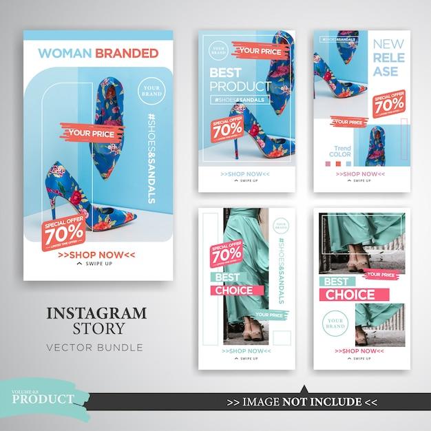 홈 인테리어 및 패션 제품 Instagram 스토리 템플릿 프리미엄 벡터