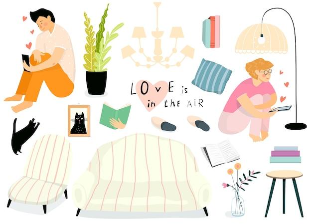 家のインテリア家具やオブジェクトのコレクション、電話でチャットする女性と男性。オンラインでデートする若い女の子と男との孤立した日常生活のリビングルームオブジェクトコレクション。 Premiumベクター