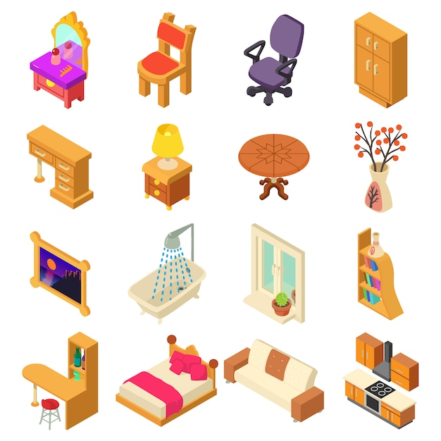 Home interior icons set. isometric illustration of 16 home interior vector icons for web Premium Vector