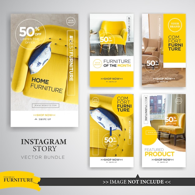 Home interior instagram stories template Premium Vector