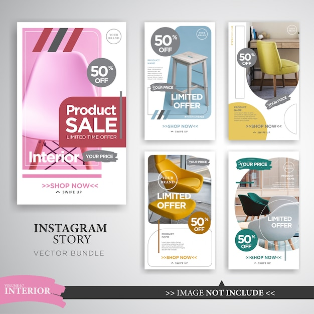 Home interior instagram stories template Premium Vector