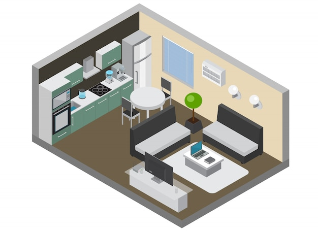 Home interior with consumer electronics so as kitchen gadgets wireless pc and tv devices conditioner and refrigerator isometric Free Vector