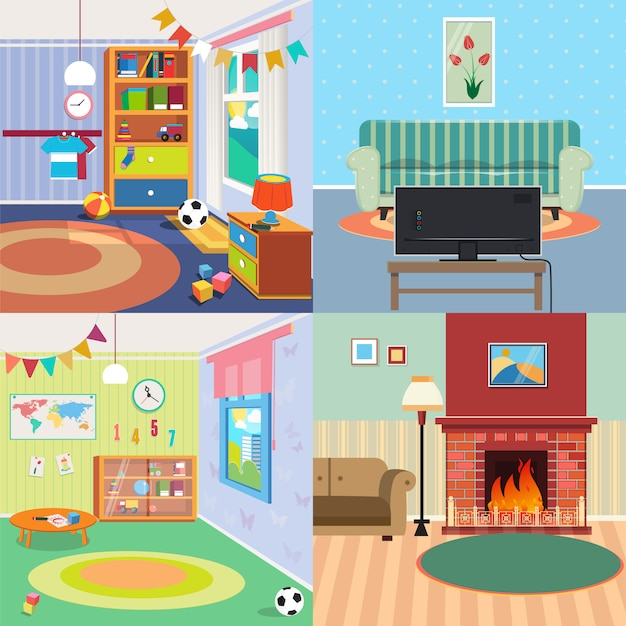 Home interiors set Premium Vector