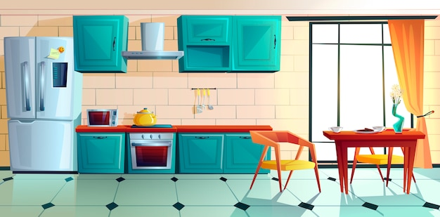 Home kitchen, empty interior with appliances. Free Vector