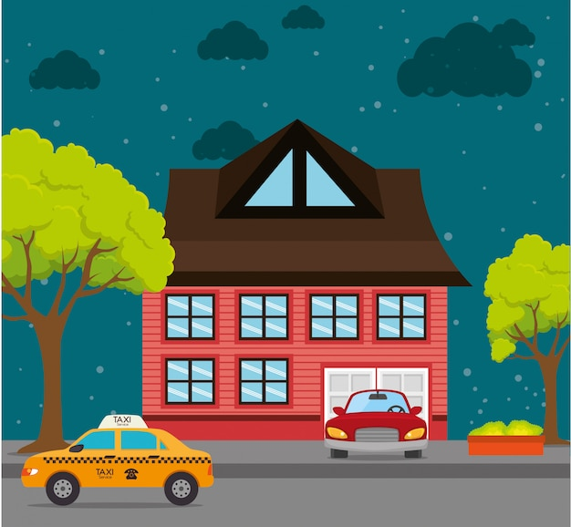 Home landscape cartoon graphic Free Vector