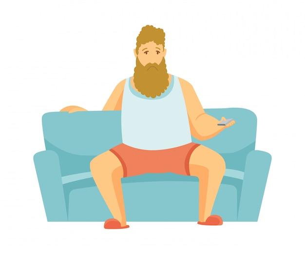 ホームレジャー。ひげの男はソファーに座ってテレビを見ます。人々の余暇。家にいる Premiumベクター