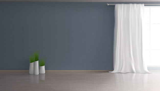 Home living room, apartment hall empty interior 3d realistic background with white curtain on large window, blue wall, parquet or laminate floor, group of flowerpots with green plants illustration Free Vector