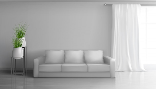 Home living room, apartment hall realistic vector sunny interior in classic style with empty grey wall behind soft sofa, long white curtain on window rod, glossy laminate on floor illustration Free Vector