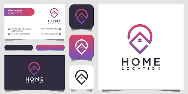 Home location logo design and business card Premium Vector