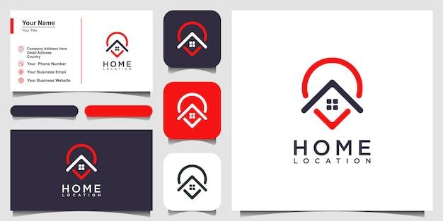 ホームロケーションロゴテンプレートと名刺デザイン Premiumベクター