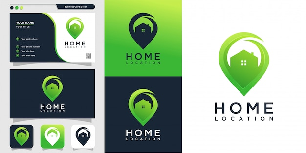 Home location with modern style logo and business card design template, icon, location, map, modern, home, house Premium Vector