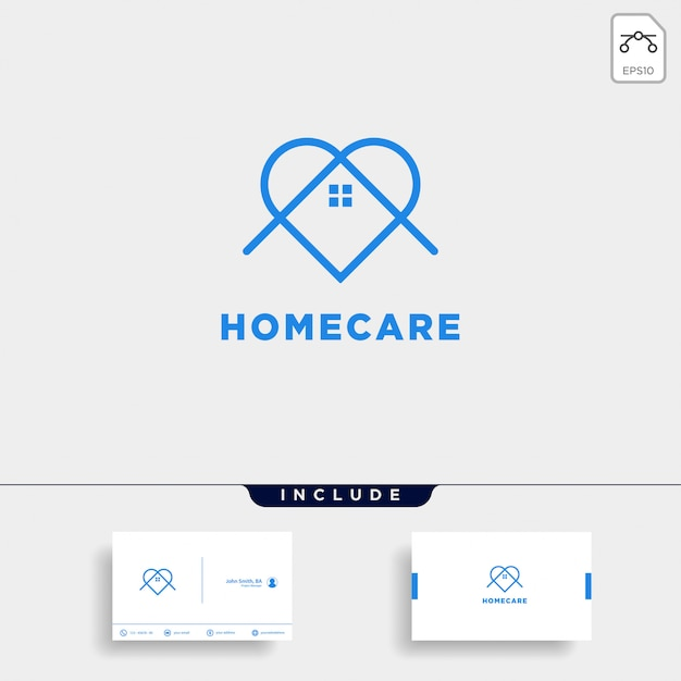 Home love care logo design and business card template Premium Vector