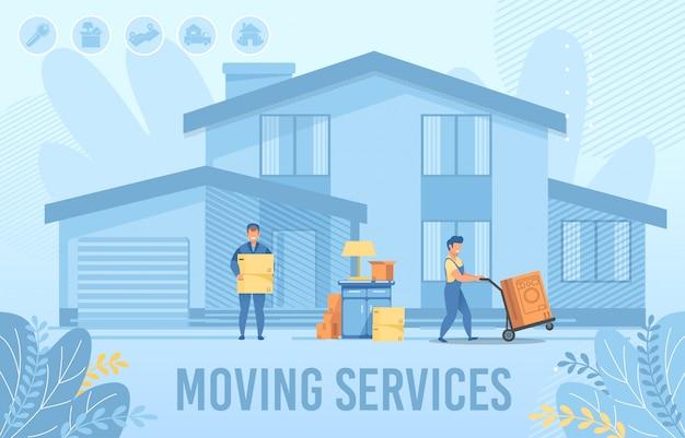 Служба переезда на дом для нового поселенческого баннера Premium векторы