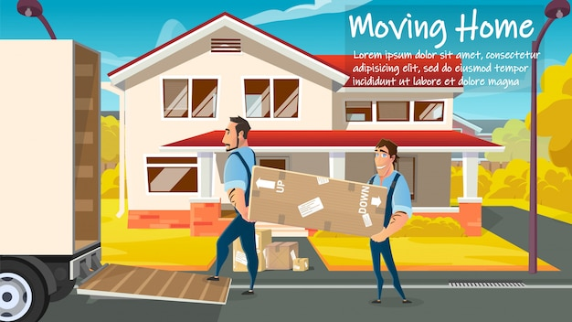 Home moving service workers loading cargo vector Premium Vector