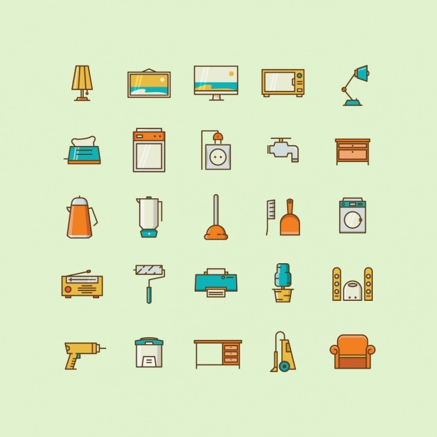 Home objects icons collection Free Vector