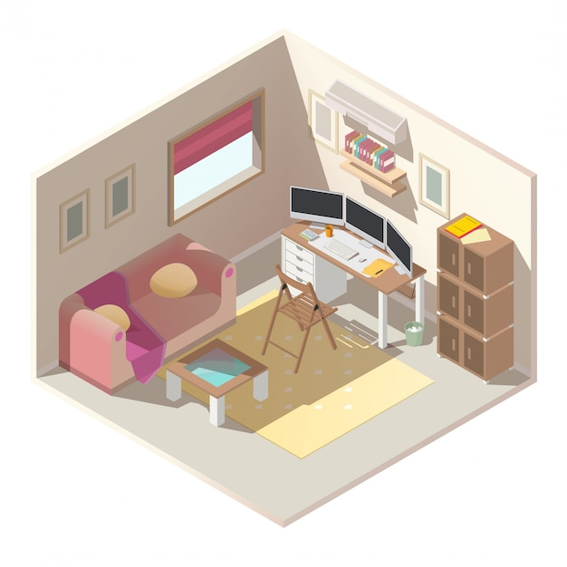Home office in apartment isometric vector interior Free Vector